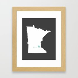 Minnesota North in Charcoal Framed Art Print