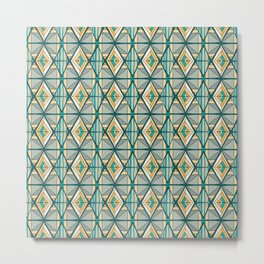 Hand Drawn Geometric Diamond Pattern Design - Green and Yellow Metal Print