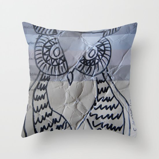 gray owl 02 Throw Pillow