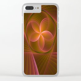 Energy, Fractal Art Pattern Clear iPhone Case