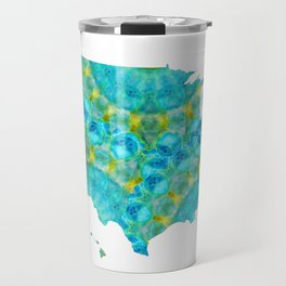 Blue and Yellow Mandala Colorful Art - USA Map 40 - Sharon Cummings Travel Mug