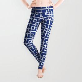 Tangled squares Chinoiserie in blue & white Leggings
