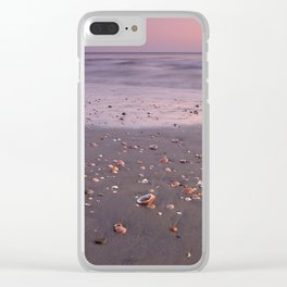The Beach Of The Shells. Purple sunset Clear iPhone Case