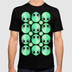 Happy Alien and Daisy Nineties Grunge Pattern MEDIUM Mens Fitted Tee Black