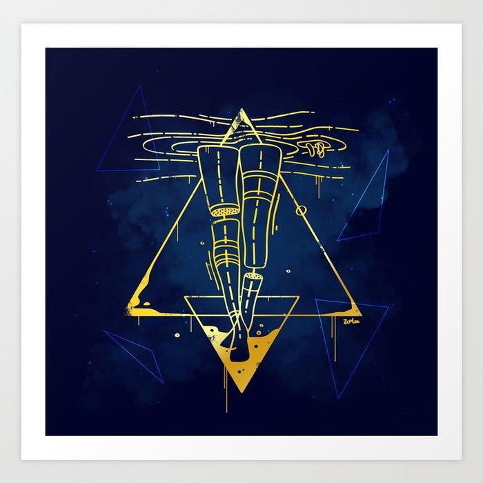 Midnight Bath - Blue/Gold pallette Art Print