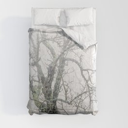 Naked tree surrounded by fog Comforters