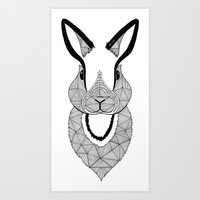 rabbit Art Prints featuring Rabbit by Art & Be