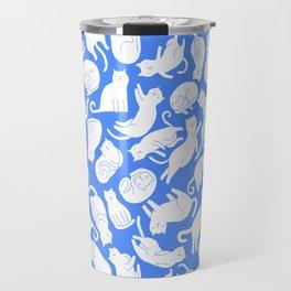 White cats on blue Travel Mug