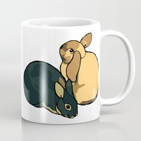 bunnies Mugs featuring Bunnies by Nemki