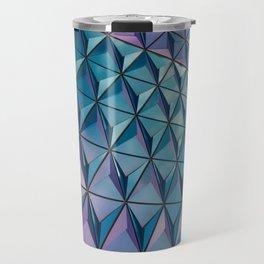 Neon Blue Purple Geometric Pattern Travel Mug