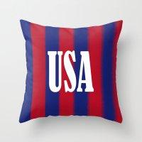 usa Throw Pillows featuring USA by Caio Trindade