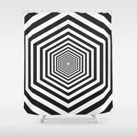 hexagon Shower Curtains featuring Hexagon by Vadeco