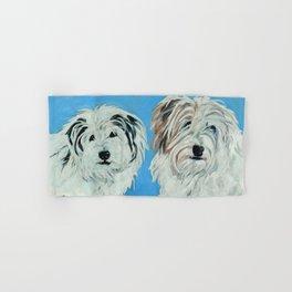 Two White Pups Dog Portrait Hand & Bath Towel