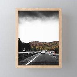 Highway Autumn Drive POV Photograph Color/Black & White Mashup Framed Mini Art Print