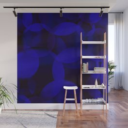 Abstract soap of blue molecules and bubbles on a dark marine background. Wall Mural