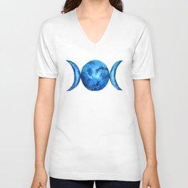 Triple Moon Goddess | Full Moon | Crescent Moon | Moon Phases Unisex V-Neck