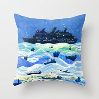 ships Throw Pillows featuring Ships by Victoria Antolini