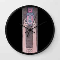 photographer Wall Clocks featuring Photographer by mojekris