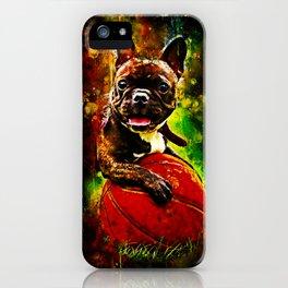 french bulldog basketball splatter watercolor iPhone Case