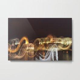 Prague in Lights Metal Print