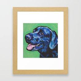 Black Lab Labrador Retriever Fun Dog bright colorful Pop Art Painting by LEA Framed Art Print