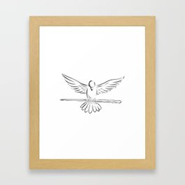 Soaring Dove Clutching Staff Front Drawing Framed Art Print