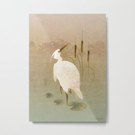 White Heron in Bulrushes Metal Print