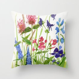 Garden Flowers Botanical Floral Watercolor on Paper Throw Pillow