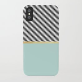 Aqua, Gold and Stripes iPhone Case