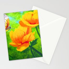 Butterfly with flowers Stationery Cards