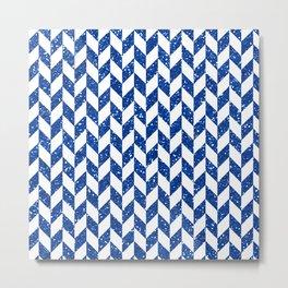Herringbone Blue Glitter 01 Metal Print