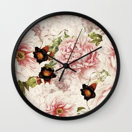 Vintage Peony and Ipomea Pattern - Smelling Dreams Wall Clock