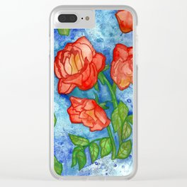 Peachy Colored Roses Clear iPhone Case