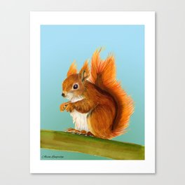 Red Squirrel  Print Original Watercolour Painting Alison Langridge Wildlife Nature Watercolor Artist Canvas Print