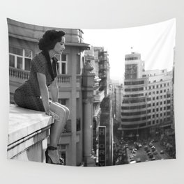 Woman on High, female form cityscape black and white photograph / photography Wall Tapestry