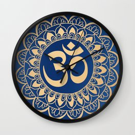 Blue and Gold Ohm Mandala Wall Clock