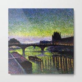The Louvre, Pont du Carrousel, River Seine, Paris green twilight cityscape painting by Maximilien Lu Metal Print