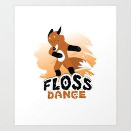 Floss Dance Move Fox Art Print