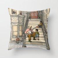 banjo Throw Pillows featuring Banjo Man by Studio Castillo