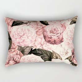Vintage & Shabby Chic Pink Floral camellia flowers watercolor pattern Rectangular Pillow