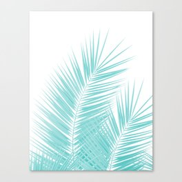 Soft Turquoise Palm Leaves Dream - Cali Summer Vibes #1 #tropical #decor #art #society6 Canvas Print