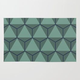 Blue and Green, Triangle and Hexagon Pattern Rug