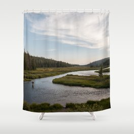 Yellowstone Fly Fishing Shower Curtain