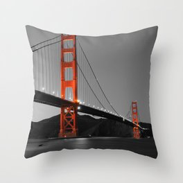 Golden Gate Bridge in Selective Black and White Throw Pillow