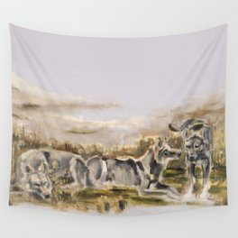 Totem wolf (Sunset) Wall Tapestry