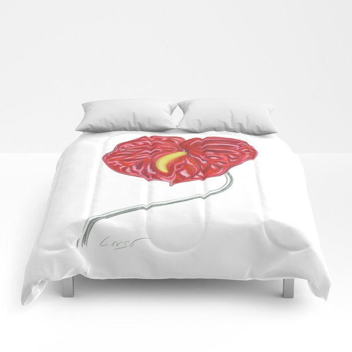 Anthurium 01 Botanical Flower * Red Heart Valentine Comforters