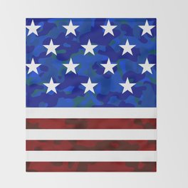 Stars & Stripes (Camouflage) Throw Blanket
