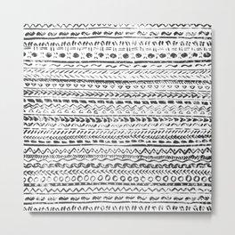 Black and White Tribal Pattern Metal Print