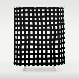 Brush grid black white seamless pattern. Abstract monochrome check background, crossing brush Stroke Shower Curtain