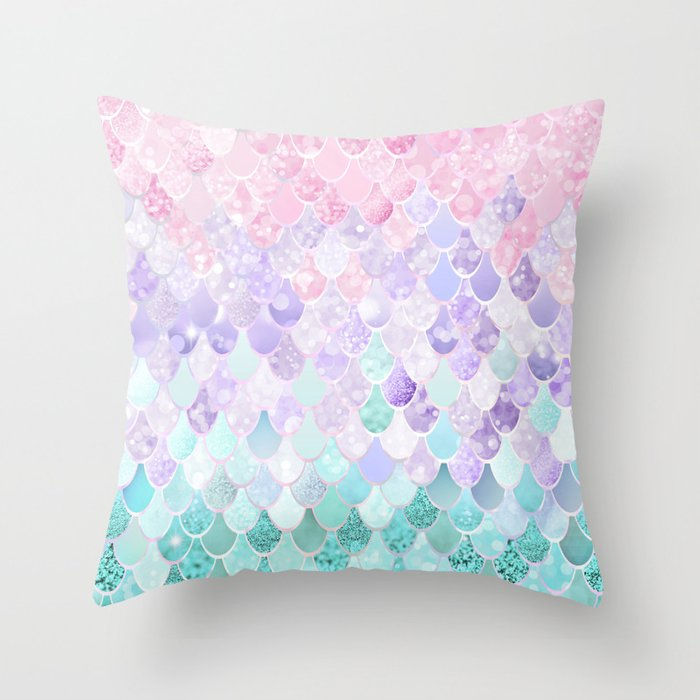 Mermaid Pastel Iridescent Throw Pillow